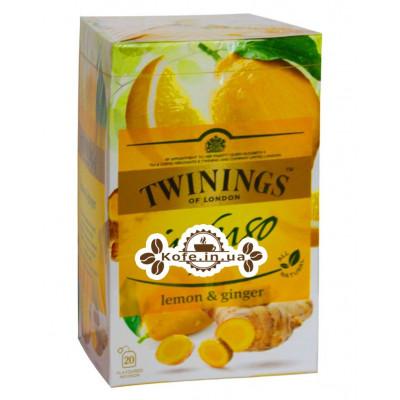 Чай TWININGS Infuso Lemon Ginger Лимон Імбир 20 х 1,5 г (070177177669)