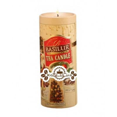 Чай BASILUR Christmas Tea Candle Рождественская Свеча - Праздничная 100 г ж/б
