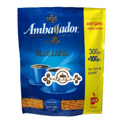 Кава Ambassador Blue Label розчинна 300 г + 100 г економ.пак. (8719325224184)