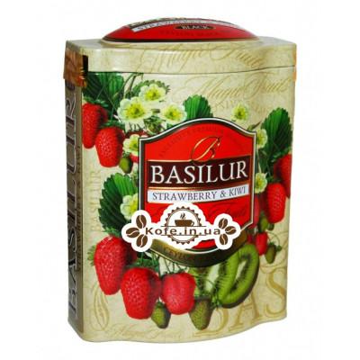 Чай BASILUR Strawberry Kiwi Полуниця Ківі - Чарівні Фрукти 100 г ж / б (4792252100602)