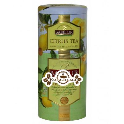Чай BASILUR Citrus Tea Green Tea Цитрусовий Зелений - Квіти і Фрукти Цейлону 125 г ж / б (4792252201170)