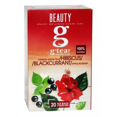 Чай GRACE! Green Tea Hibiscus Blackcurrant Зелений чай Гібіскус Чорна смородина - Wellness 20 х 2 г (5060207695855)