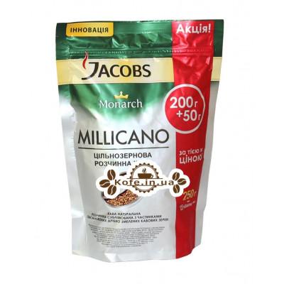 Кофе Jacobs Monarch Millicano цельнозерновой растворимый 200 + 50 г эконом. пак.