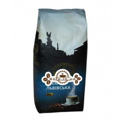 Кофе Віденська Кава Львівська Кремова зерновой 1 кг (4820000371575)