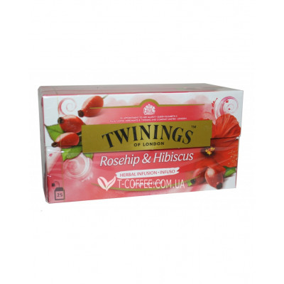 Чай TWININGS Rosehip Hibisus Шиповник Каркаде Фруктовый 25 х 2,5 г (070177118532)