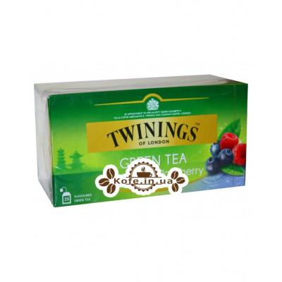 Чай TWININGS Green Tea Blueberry Raspberry Зелений Чорниця Малина 25 х 1,6 г (070177173371)