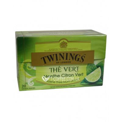 Чай TWININGS The Vert Menthe Citron Vert Зелений М'ята Лайм 20 х 1,5 г (5055953902364)