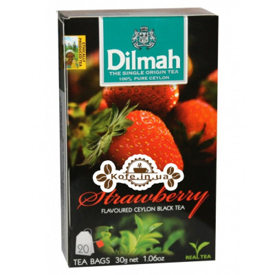 Чай Dilmah Black Tea Strawberry Полуниця 20 x 1,5 г (9312631142228)