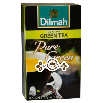 Чай Dilmah Pure Green Tea Зелений чай 20 x 1,5 г (9312631142433)