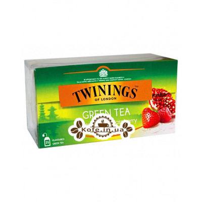 Чай TWININGS Green Tea Pomegranate Raspberry Strawberry Зелений Гранат Малина Полуниця 25 х 2 г (070177173791)