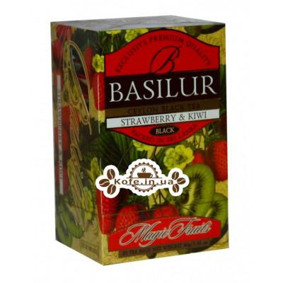 Чай BASILUR Strawberry Kiwi Клубника Киви - Волшебные Фрукты 20 х 2 г (4792252002074)